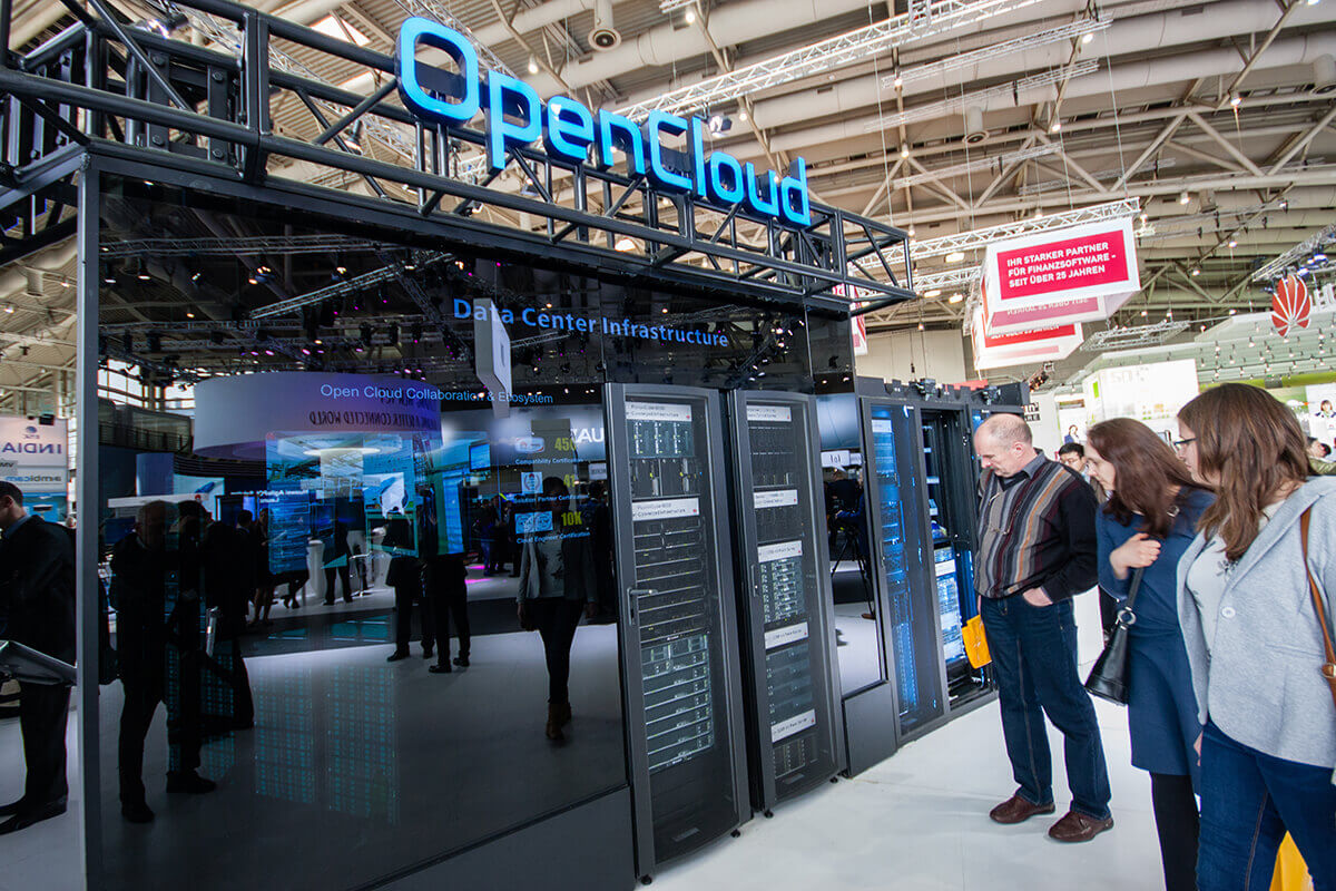 OpenCloud being exhibited at Huawei's booth at CeBIT information technology trade show in Hannover, Germany on March 14, 2016.