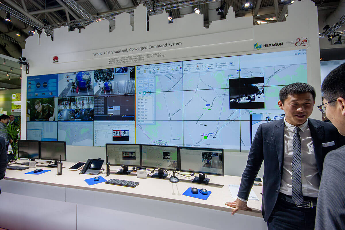 Huawei showcasing a remote command system at CeBIT information technology trade show in Hannover, Germany on March 14, 2016